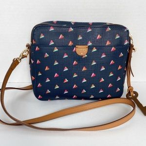 Fossil crossbody Bag purse Navy w/ Paper Airplanes